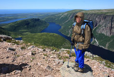 Hiker at Ten Mile Pond Royalty Free Stock Photos