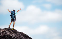 Hiker on top Stock Image