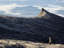 Hiker at the Top of Mount Kinabalu in Sabah, Malaysia stock image