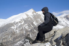 Hiker on top of the mountain Stock Image