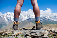 Hiker on the top Stock Photography
