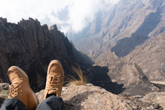 Hiker at the top of a mountain Stock Photography