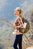 Hiker top mountain Stock Photography