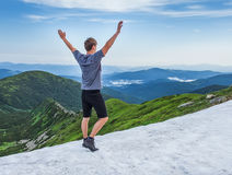 Hiker on top of mountaine Stock Photography
