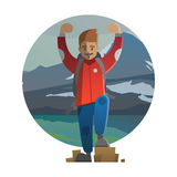 Hiker on the top. Trekking, hiking, climbing, traveling. Vector. Vector illustration on the theme of hiking, backpacking, climbing, traveling, trekking, walking Stock Image
