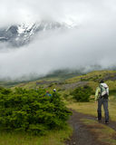 Hiker in Torres Del Paine National Park Royalty Free Stock Images