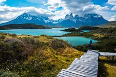 Hiker in Torres del Paine National Park royalty free stock image