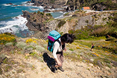 Hiker on trail Stock Photos