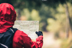 Hiker on trail with map, Izerskie Mountains, Poland. Hiker in red jacket and backpack with map on trail through forest on Izerskie Mountains, Poland royalty free stock photos