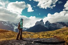 Hiker on the trail in Torres del Paine National Park. Chile royalty free stock photography