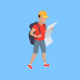 Hiker Traveller Vector Illustration. Hiking with backpack illustration. Man in shorts with supplies and map walks on blue background. Vector in modern flat stock illustration