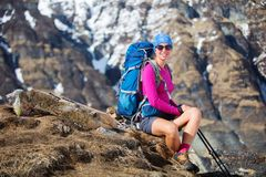 Hiker on the trek in Himalayas, Annapurna valley, Nepal Royalty Free Stock Photo