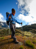 Hiker on the trek in Himalayas, Khumbu valley Royalty Free Stock Photos