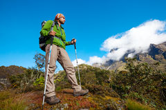 Hiker on the trek in Himalayas, Khumbu valley Stock Photography