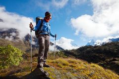 Hiker on the trek in Himalayas, Khumbu valley, Nepal Royalty Free Stock Photos