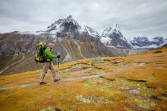 Hiker on the trek in Himalayas, Khumbu valley Stock Photos