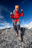 Hiker on the trek in Himalayas, Khumbu valley Royalty Free Stock Photography