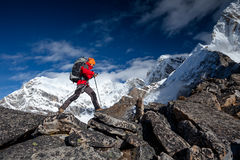 Hiker on the trek in Himalayas, Khumbu valley. Nepal Royalty Free Stock Photos