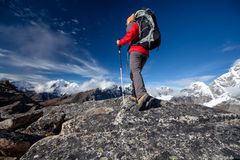 Hiker on the trek in Himalayas, Khumbu valley, Nepal Royalty Free Stock Photo