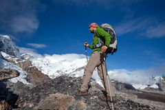 Hiker on the trek in Himalayas, Khumbu valley, Nepal Royalty Free Stock Image
