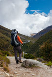Hiker on the trek in Himalayas, Khumbu valley, Nepal Stock Images
