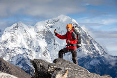Hiker on the trek in Himalayas, Khumbu valley, Nepal Stock Photography