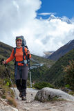 Hiker on the trek in Himalayas, Khumbu valley, Nepal Royalty Free Stock Photography