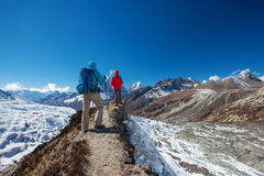 Hiker on the trek in Himalayas, Khumbu valley. Nepal Stock Image