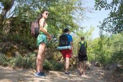 Hiker trekking на следе в туристах группы леса исследуя природу идя через древесины Стоковые Фото