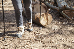 Hiker with trekking boots on the forest trail Stock Photography
