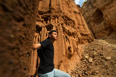 Hiker trekking through canyons Royalty Free Stock Photography