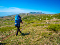 Hiker trekking in Crimea Royalty Free Stock Photos