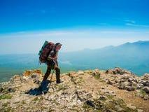 Hiker trekking in Crimea. Mountains Royalty Free Stock Photo