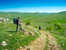 Hiker trekking in Crimea Royalty Free Stock Photography