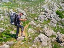 Hiker trekking in Crimea Royalty Free Stock Image
