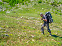 Hiker trekking in Crimea Royalty Free Stock Images