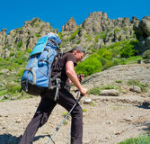 Hiker trekking in Crimea Stock Photo