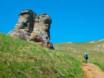 Hiker trekking in Crimea Stock Photos