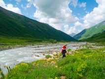 Hiker trekking in Svaneti, Georgia Stock Photos