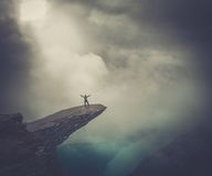 Hiker on Trolltunga royalty free stock image