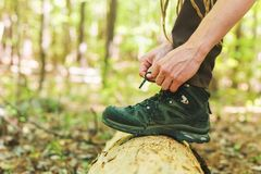 Hiker tying boot laces on a log royalty free stock images