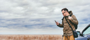 Hiker Using Smart Phone Outdoor Stock Images