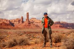 Hiker in Valley of Gods, USA stock photography