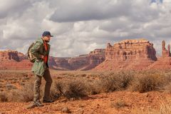 Hiker in Valley of Gods, USA royalty free stock photography