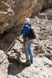 Hiker on via ferrata Stock Photography
