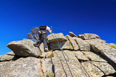 Hiker on via ferrata Royalty Free Stock Photos