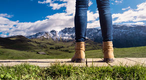 Hiker viewed mountains landscape -  Dolomites South Tirol Italy Stock Photography