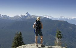 Hiker at a viewpoint in Whistler Stock Image