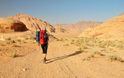 Hiker in Wadi Rum desert Royalty Free Stock Photography