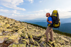 Hiking in Carpathian mountains Stock Photo